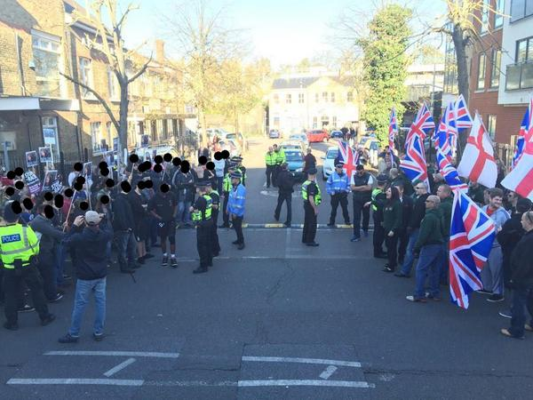 Britain First and Antifascists in a stand off at the Station.